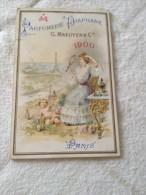 Calendrier Publicitaire,1900, PARFUMERIE DIAPHANE , PARIS, Sarah Bernhardt, La Carmeine - Publicité