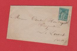 Enveloppe + Carte //    Pour Le Luart  // 1888  // - Poststempel (Briefe)
