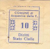 Acquaviva Delle Fonti. 1961. Marca Municipale Diritti Di Stato Civile L. 10  Su Documento - Otros