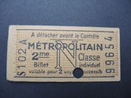 FRANCE-Tickets De Métro De Paris-A étudier P7026 - Metro