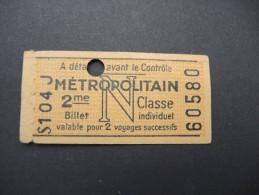 FRANCE-Tickets De Métro De Paris-A étudier P7028 - Metro