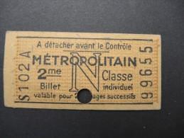 FRANCE-Tickets De Métro De Paris-A étudier P7031 - Metro