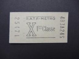 FRANCE-Tickets De Métro De Paris-A étudier P7037 - Subway