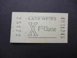 FRANCE-Tickets De Métro De Paris-A étudier P7038 - Subway