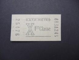 FRANCE-Tickets De Métro De Paris-A étudier P7039 - Subway