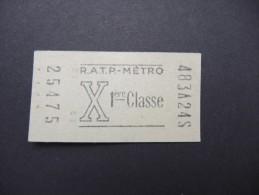 FRANCE-Tickets De Métro De Paris-A étudier P7040 - Subway