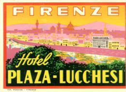 ETIQUETA DE HOTEL  -  HOTEL PLAZA - LUCCHESI  -FIRENZE - Etiquettes D'hotels