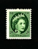 "CANADA - 1955  2c  QUEEN ELISABETH OVERPRINTED  ""G""  MINT NH - 1952-.... Regno Di Elizabeth II"