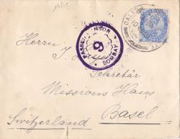 14815# INDE LETTRE CENSURE PASSED CENSOR BOMBAY 9 Obl CALICUT 1915 BASEL SWITZERLAND BALE SUISSE - 1911-35 Roi Georges V