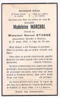 Souvenir Pieux, Madeleine MARCHAL (M. Stasse), Décédé à Braives En 1943 - 2 Scans - Devotieprenten