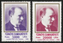 TURKEY 1993 (**) - Mi. 3000-01, ATATÜRK Regular Issue Stamps - 1921-... République