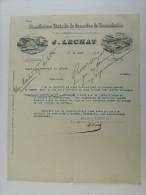 Facture Invoice Litho Lechat Manufacture Générale Courroies Transmission Lille Paris Gand 1896 - France