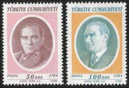 TURKEY 1996 (**) - Mi. 3076-77, ATATÜRK Regular Issue Stamps - 1921-... République
