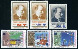 TURKEY 1996 (**) - Mi. 3089 A + B , 3090-93, Overprinted Regular Issue Stamps - 1921-... République
