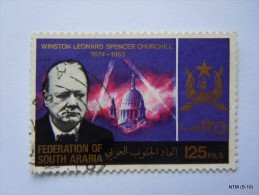 FEDERATION OF SOUTH ARABIA. YEAR 1966. Winston Leonard Spencer Churchil, 125 Fils. USED. SG 22 - Sellos