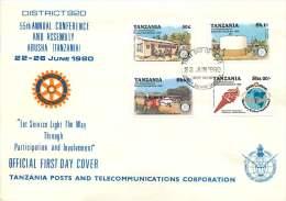 1980  Rotary International   55è Conférence De District  FDC Non Adressé - Tansania (1964-...)
