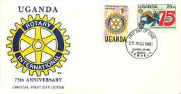 1980  Rotary International   75è Anniversaire FDC Non Adressé - Ouganda (1962-...)
