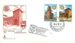1970  Rotary International   10th Anniversary  Of Local Club  Unaddressed FDC - FDC