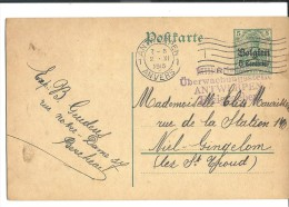 ! - Occupation Allemande - Carte Envoyée De Belgique (Berchem) Vers Belgique (Niel-Gingelom) - Allemagne