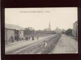 53 Saint Mars Sur Colmont La Gare édit. Chevrinais Animée Plublicité Byrrh , Train Tramway - Autres Communes