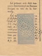 Timbre Quittance 25 C Sur Bail Janvier 1919 - Vieux Papiers