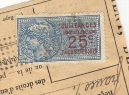 """Timbre Fiscal """"Quittance"""" 25c Sur Quittance De Loyer Juin 1925 - Vieux Papiers"""