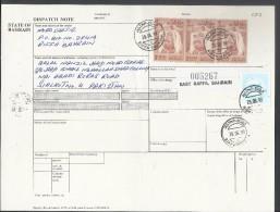 Bahrain Registered Parcel 1976 Sheik Isa 3d Buff & Brn 3 Stamps, 1974 WAR TAX STAMP On Parcel Card, 50% OFF - Bahrain (1965-...)