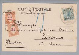 Österreich Levante 1904-01-01 Constantinopel AK Nach Livorno Mit Ital.Nachporto - Levant Autrichien