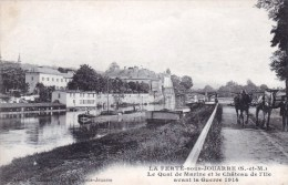 77 - La Ferte Sous Jouarre - Le Quai De Marine Et Le Chateau De L Ile Avant La Guerre 1914 ( Chevaux Sur Halage Peniche) - La Ferte Sous Jouarre