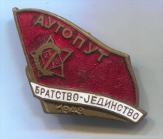 ORA RADNA AKCIJA Yugoslavia - AUTOPUT 1949. National youth working stocks, enamel vintage pin badge, 40 x 25 mm