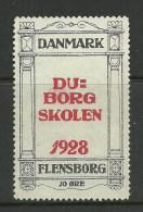 DENMARK Dänemark 1928 Vignette Werbemarke Flensburg Flensborg Schule - Vignetten (Erinnophilie)