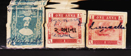INDIAN STATE GONDAL 3 DIFFERENT REVENUE FISCAL STAMPS #D2 - India