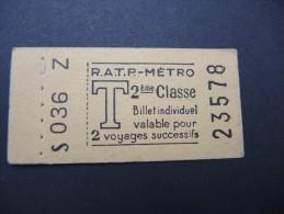 FRANCE-Tickets De Métro De Paris-A étudier P7042 - Europe