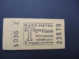 FRANCE-Tickets de m�tro de Paris-A �tudier P7043
