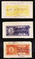INDIAN STATE BUNDI 3 DIFFERENT C/F REVENUE FISCAL USED STAMPS LOT #D02 - India