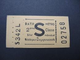 FRANCE-Tickets De Métro De Paris-A étudier P7045 - Subway