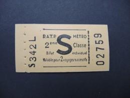 FRANCE-Tickets de m�tro de Paris-A �tudier P7046