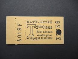 FRANCE-Tickets De Métro De Paris-A étudier P7047 - Europa