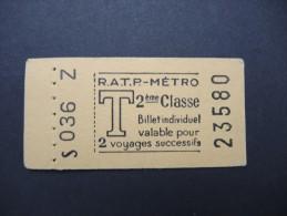FRANCE-Tickets De Métro De Paris-A étudier P7048 - Europa