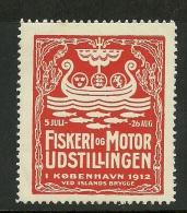 DENMARK Dänemark 1912 Vignette Werbemarke Fischerei & Motor - Ausstellung Exhibition - Cinderellas
