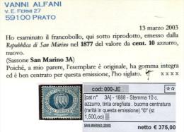 San Marino, 1877. Stemma 10 C. Azzurro. Buona Centratura. ** Unif. 3A - Nuovi