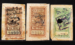 INDIA STATE DUNGARPUR 3 DIFFERENT REVENUE FISCAL OLD STAMPS, 8AN 2 DIFF. #D2 - India