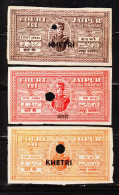 INDIAN STATE JAIPUR TYPE-10, OVERPRINTED KHETRI 3 DIFFERENT CF REVENUE FISCAL STAMPS #D3 - India