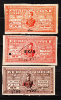 INDIAN STATE JAIPUR TYPE-10, OVERPRINTED SIKAR 3 DIFFERENT CF REVENUE FISCAL STAMPS #D3 - India