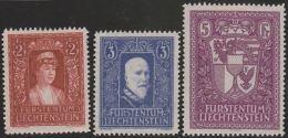 Liechtenstein 1933-5 Zu#119-121 * Falz Fürstenpaar + Landeswappen - Neufs