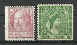 ÖSTERREICH Austria 2 Alte Reklamemarken Poster Stamps Keiser Franz Josef I & Kaiserin Elisabeth - Cinderellas
