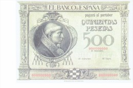 SPAIN 1925 - REPLICA REPRODUCCION  - CARDENAL CISNEROS (PORTRAIT)-TOLEDO CATHEDRAL PAPER BILL OF 500 PTAS ISSUED JAN 12 - [ 8] Ficticios & Especimenes
