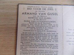 Doodsprentje Armand Van Gijsel Doel 23/11/1918 Sint Niklaas 24/9/1944 ( Z.v. Edmond En Rosa Van Uytenhouwen ) - Religion & Esotérisme