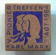 EAST GERMANY DDR - PIONIER TREFFEN, communism, 1964. vintage pin, badge