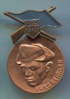 EAST GERMANY,Ex DDR - FDJ, Communist Youth Union, Spain Civil War, HANS BEIMLER, Vintage Pin, Badge - Associations